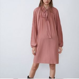Zara pink pleated dress